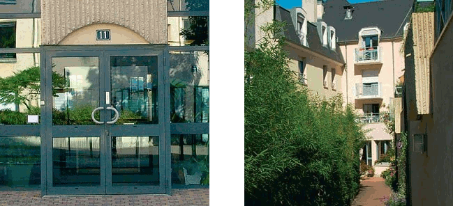 L'entrée et la cours de la résidence